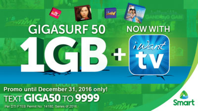 Smart Partners with ABS-CBN iWantTV and Includes it to GigaSurf